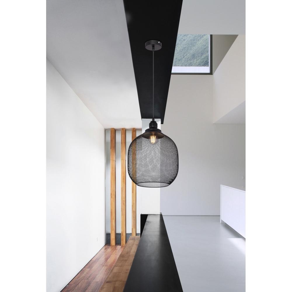 LED metalen hanglamp zwart mesh metaal E27 fitting - sfeerfoto