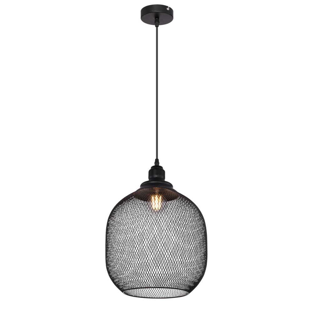 LED metalen hanglamp zwart mesh metaal E27 fitting - vooraanzicht lamp aan
