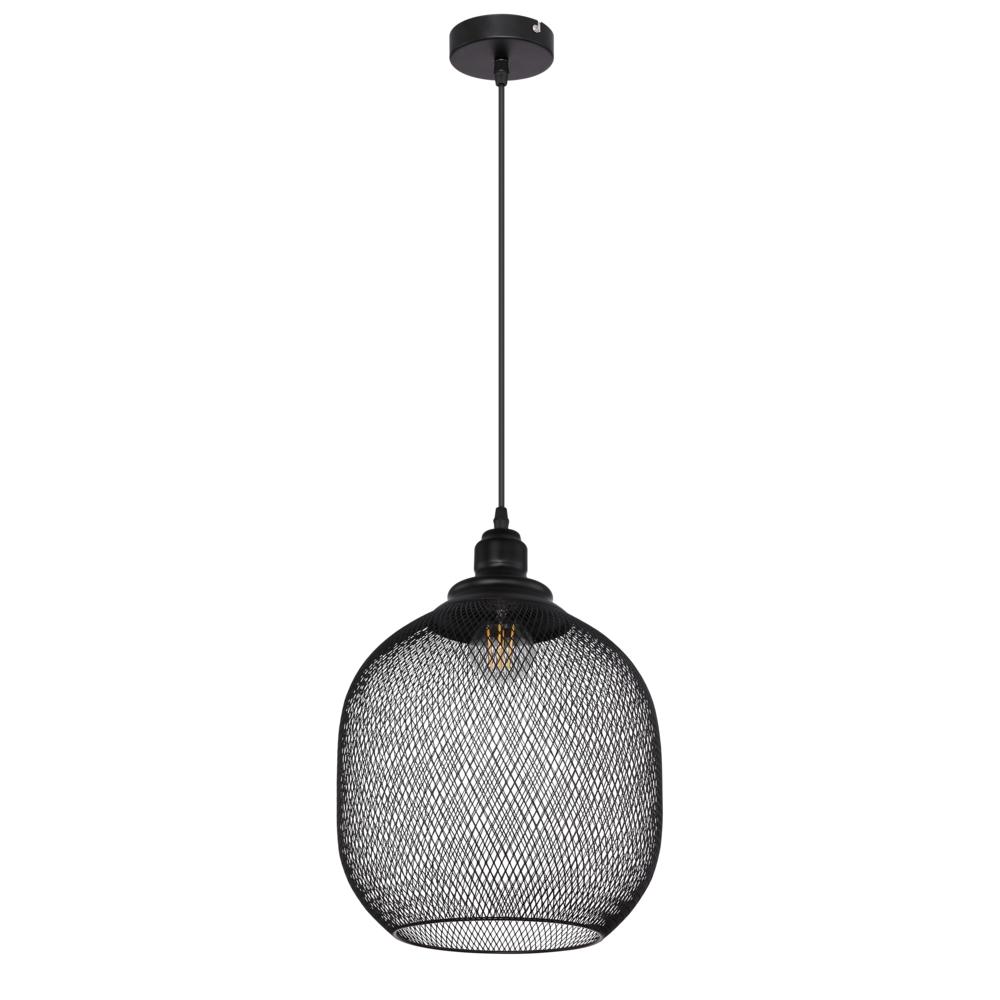 LED metalen hanglamp zwart mesh metaal E27 fitting - vooraanzicht lamp uit