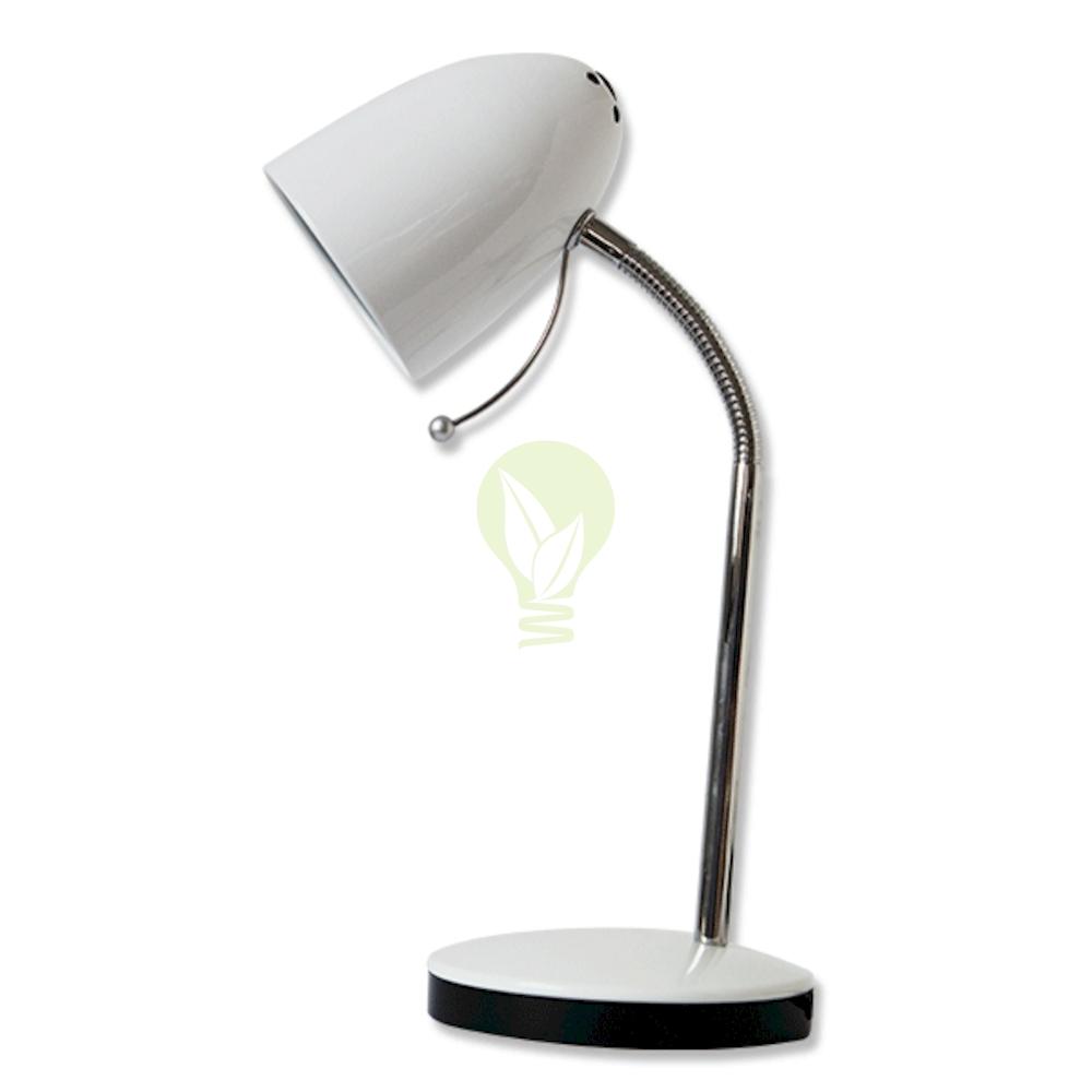 Bureau / tafellamp met E27 fitting en voet - Wit