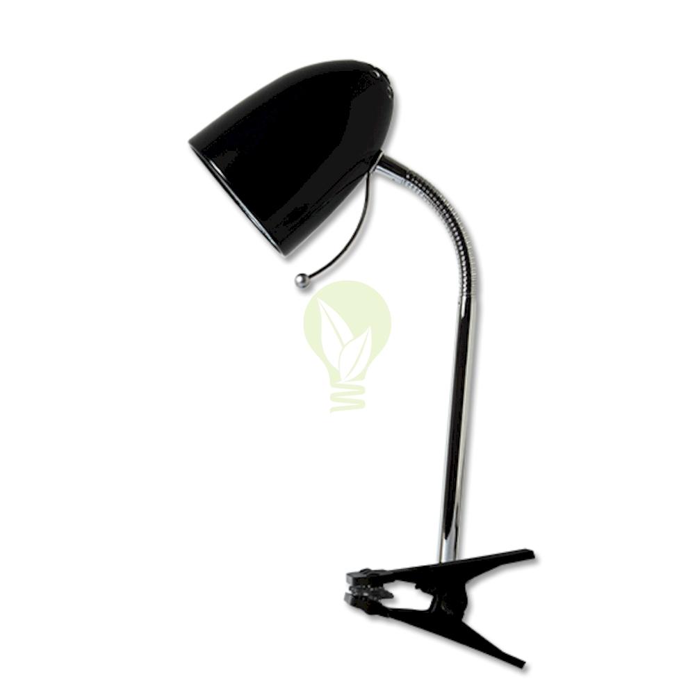 Bureaulamp met E27 fitting met klem - Zwart