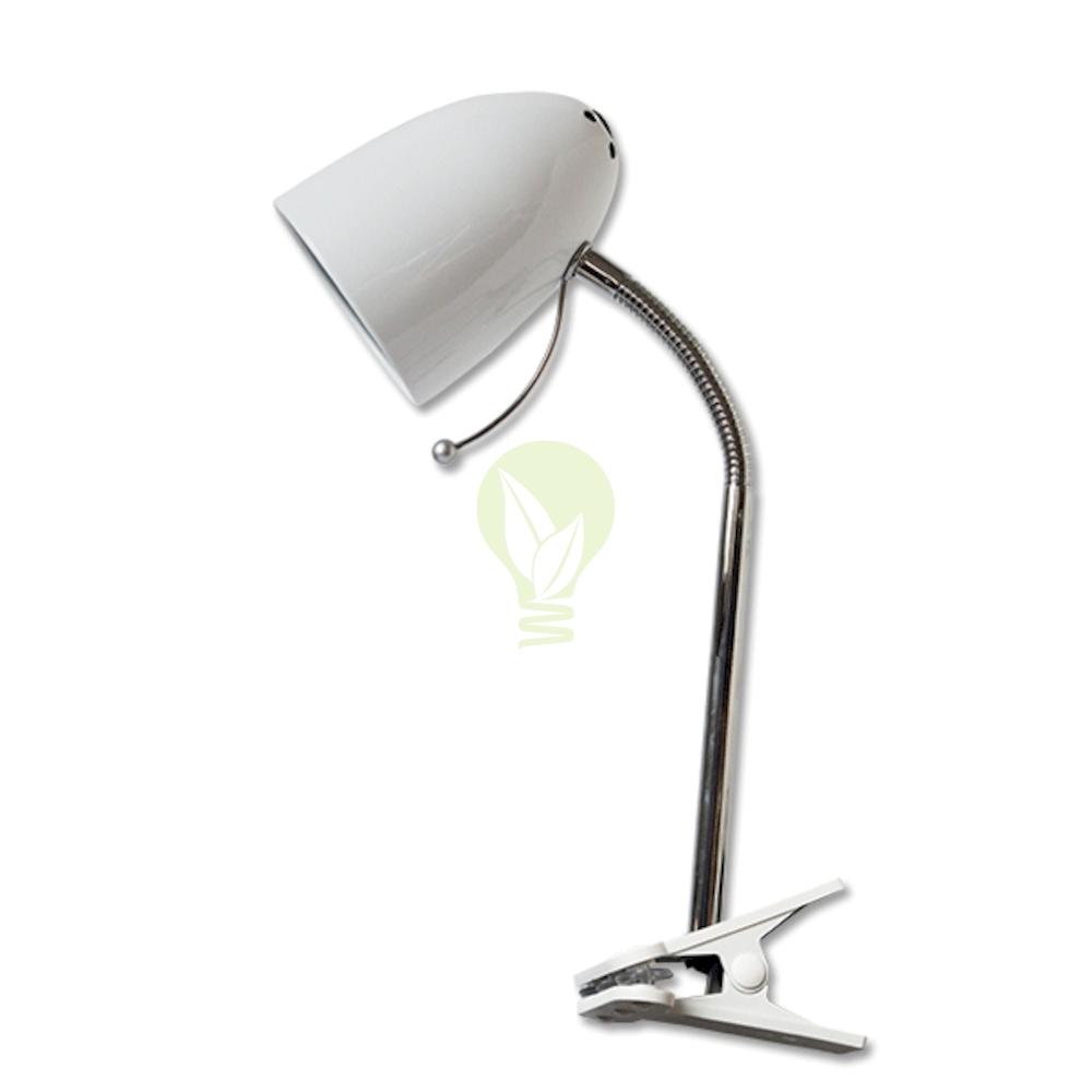 Bureaulamp met E27 fitting met klem - Wit