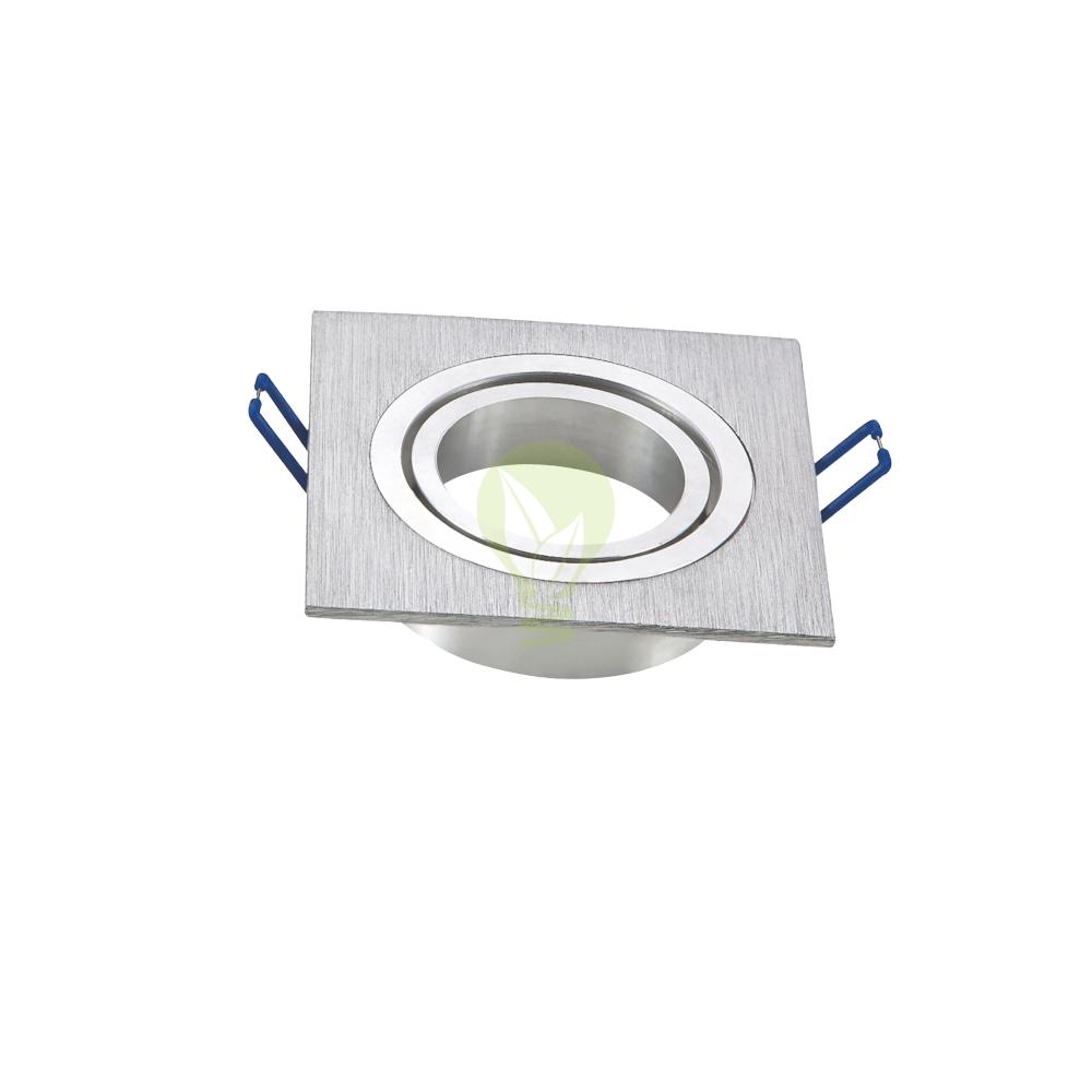 Geborsteld aluminium spot vierkant - kantelbaar - 75mm